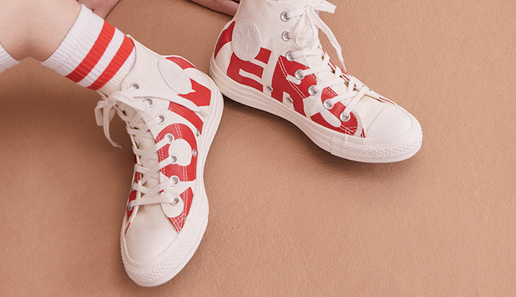 converse blanche / rouge