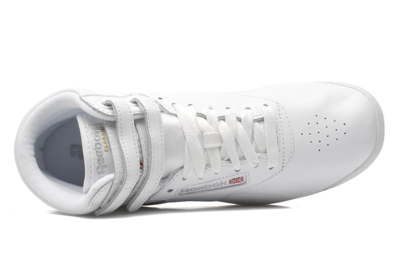 Sneaker Reebok Freestyle Hi weiß ansicht von links