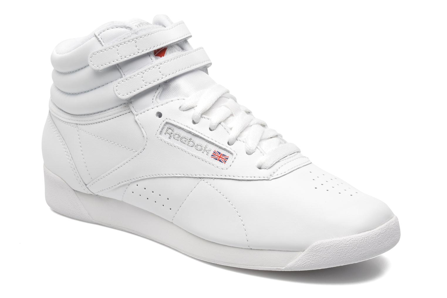 Baskets Reebok Freestyle Hi Blanc vue détail/paire