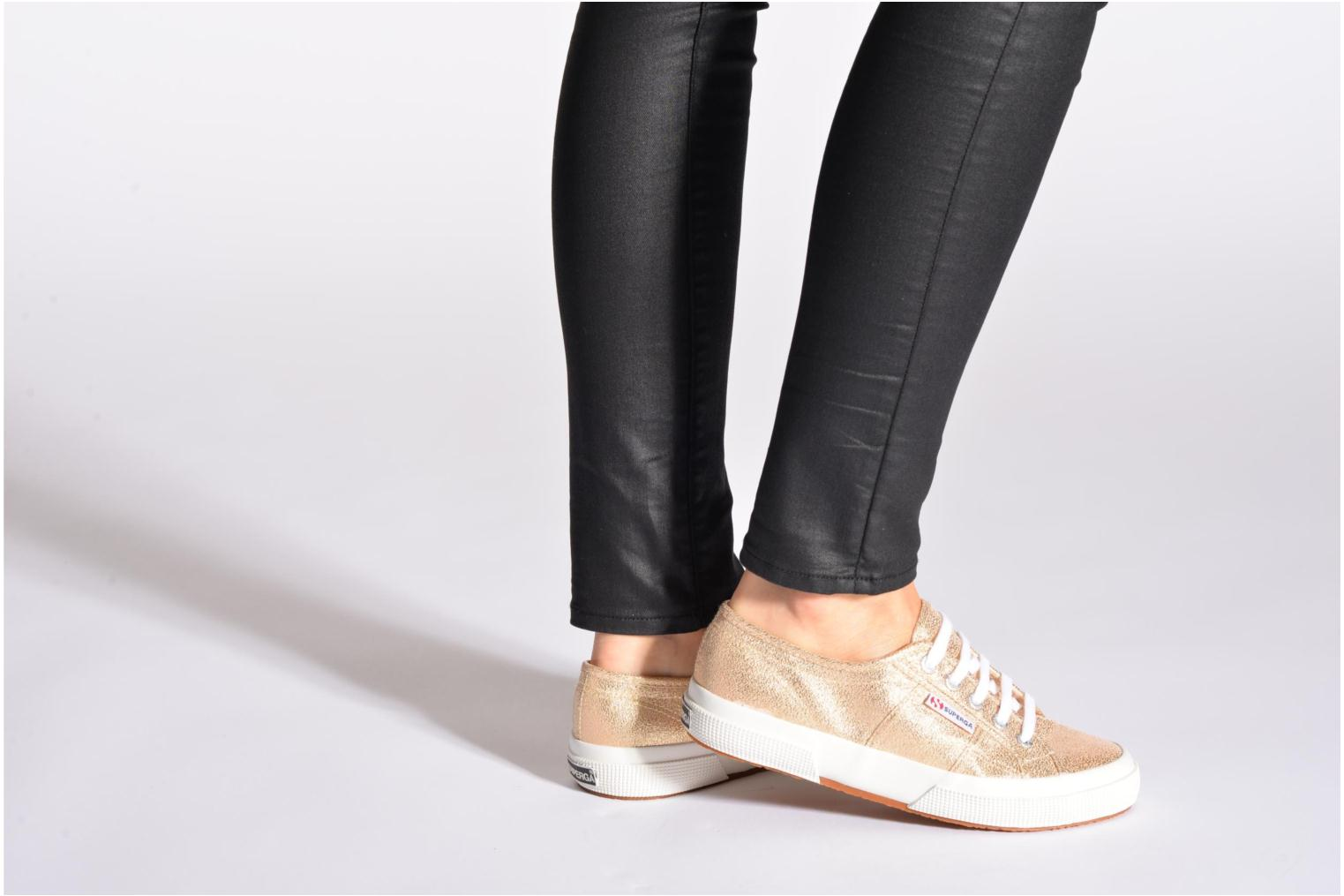 Trainers Superga 2750 Lame W Black view from underneath / model view