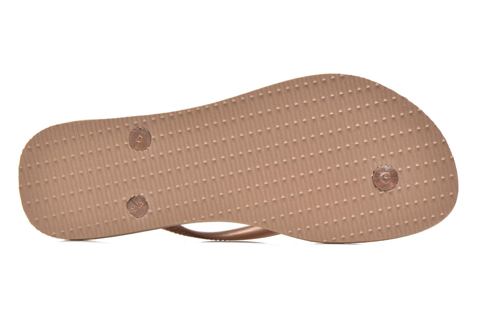 Flip flops Havaianas Slim Métallic Femme Bronze and Gold view from above