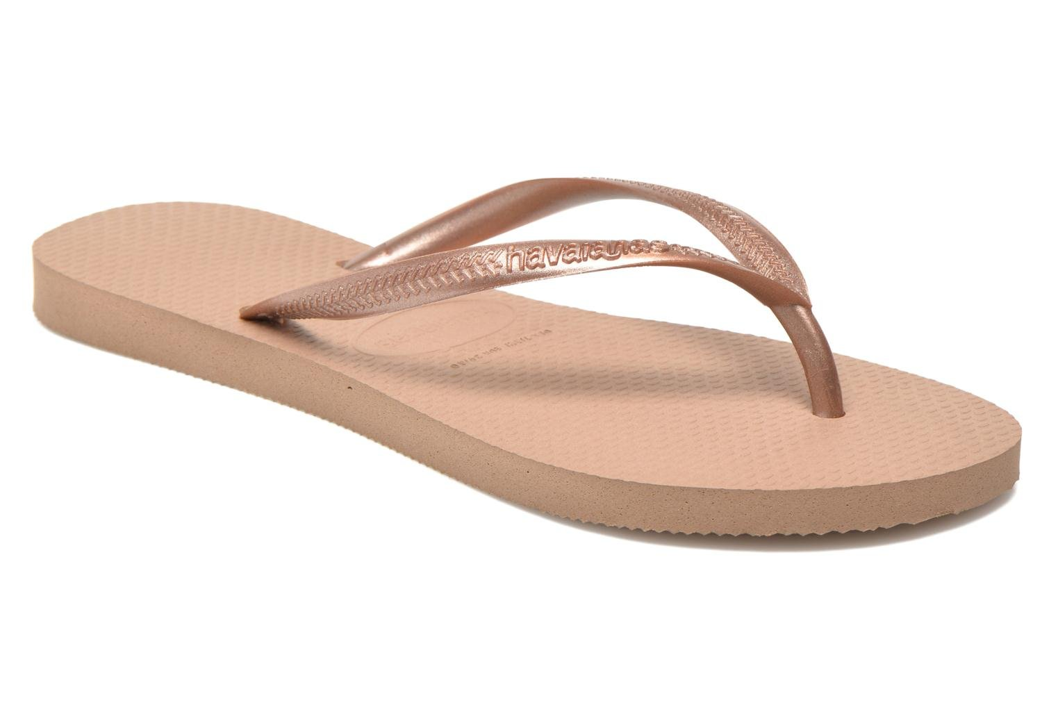 Flip flops Havaianas Slim Métallic Femme Bronze and Gold detailed view/ Pair view