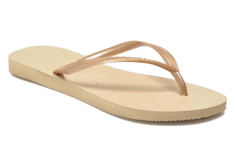 Slippers Havaianas Slim Métallic Femme Beige detail