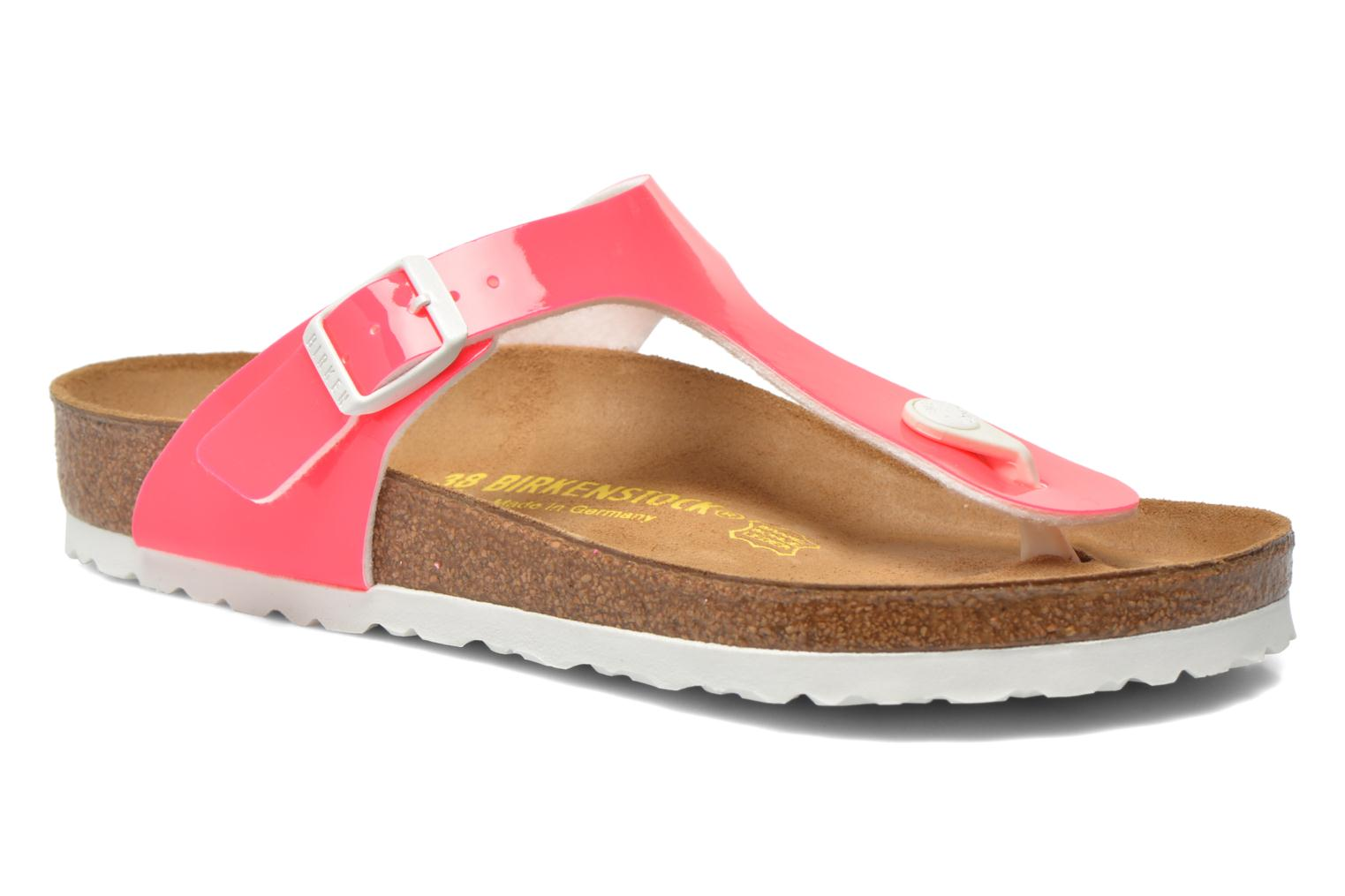 Sandals Birkenstock Gizeh Flor W Pink detailed view/ Pair view