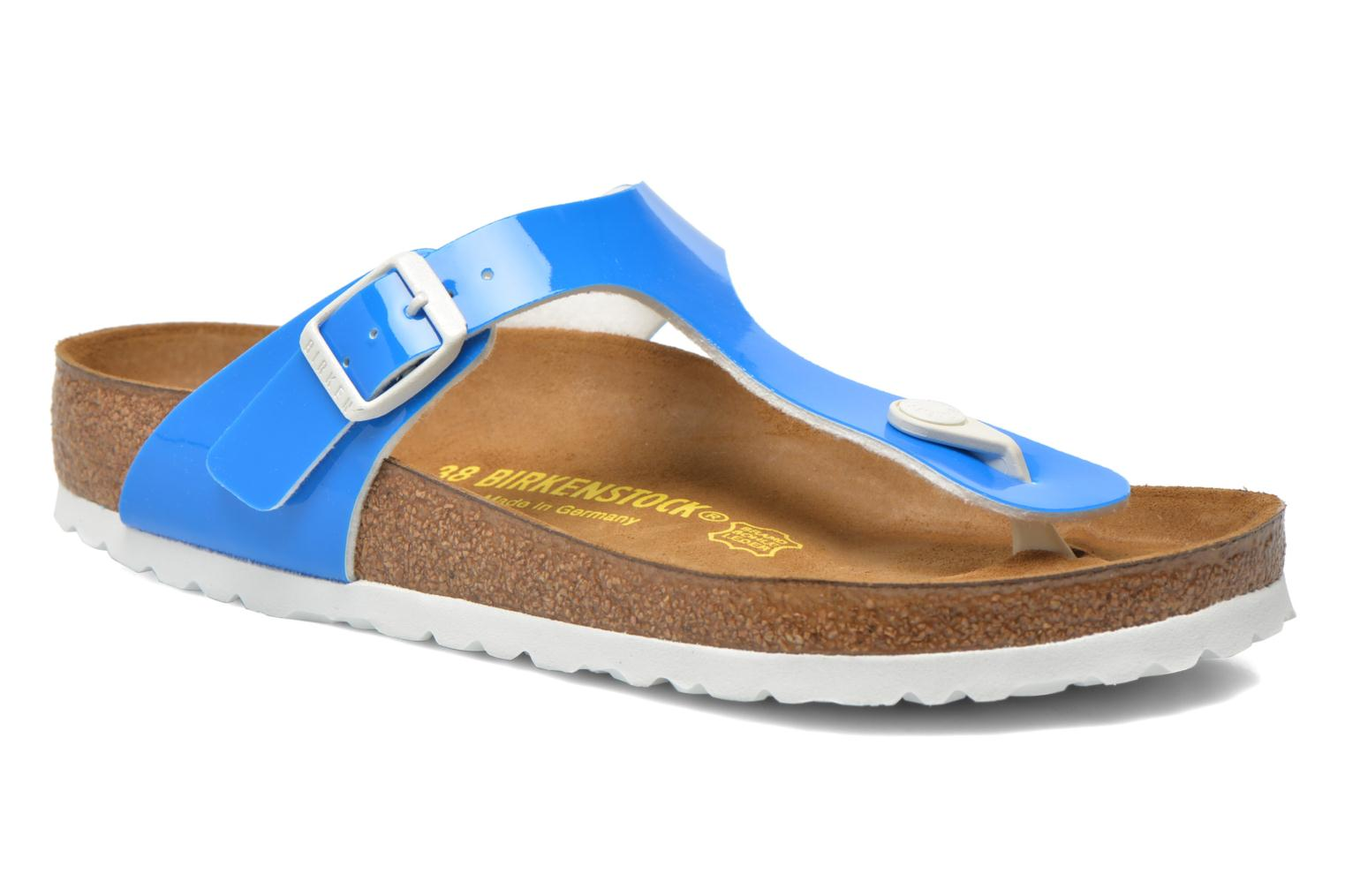 Sandals Birkenstock Gizeh Flor W Blue detailed view/ Pair view