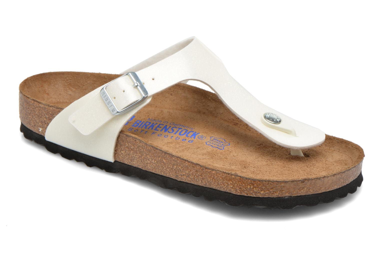 Sandals Birkenstock Gizeh Flor W White detailed view/ Pair view