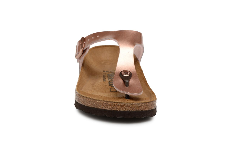 Sandalen Birkenstock Gizeh Flor W rosa schuhe getragen