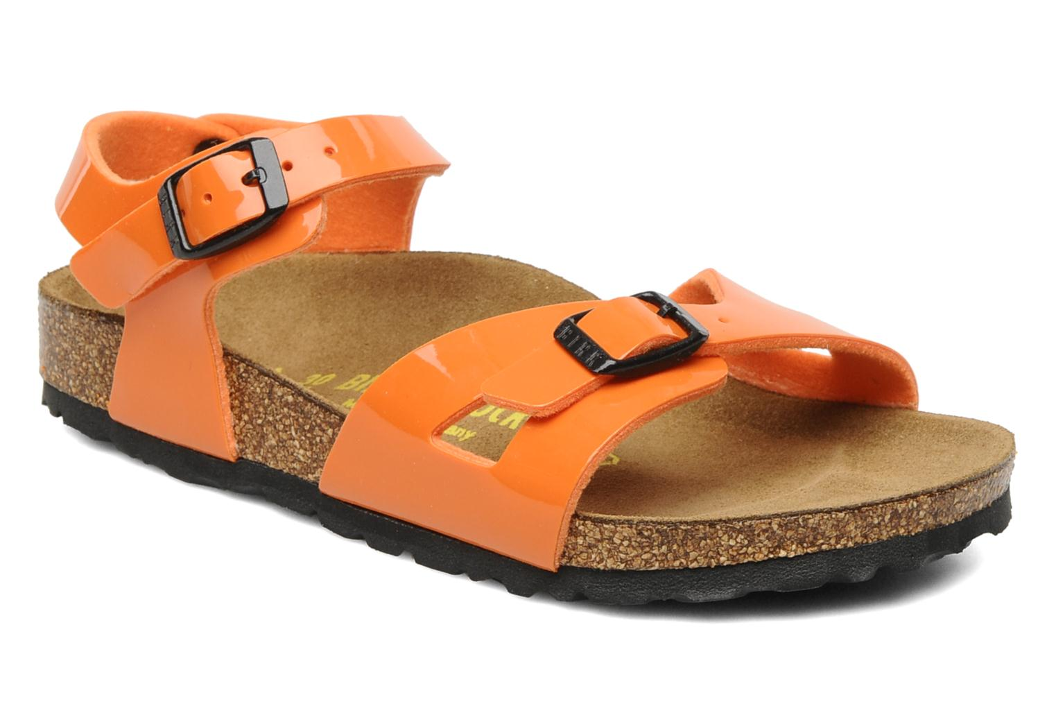 Sandals Birkenstock Rio Flor E Orange detailed view/ Pair view