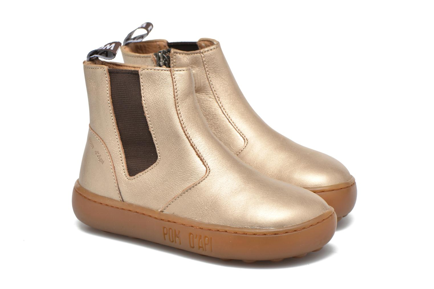 Ankle boots Pom d Api Walk Jodpur Basic Bronze and Gold 3/4 view