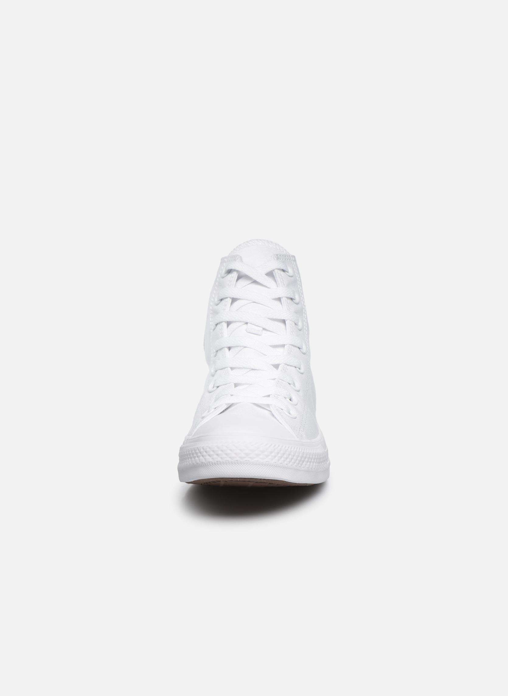 Sneakers Converse Chuck Taylor All Star Monochrome Canvas Hi M Bianco modello indossato