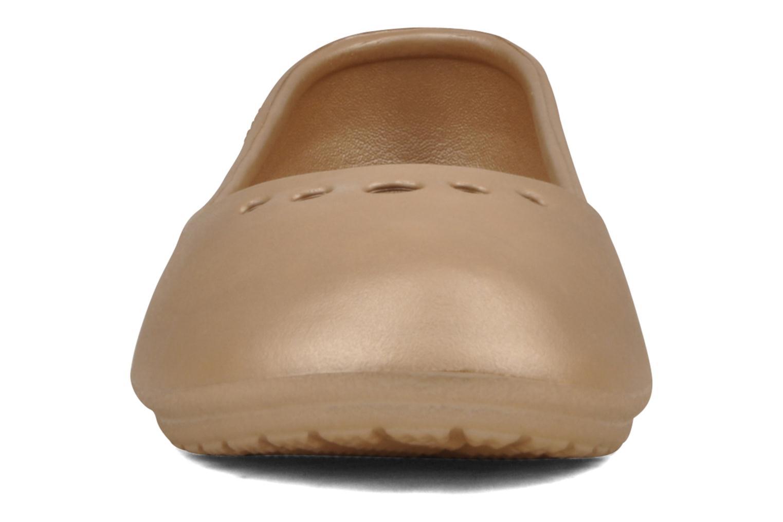 Ballet pumps Crocs Prima Bronze and Gold model view