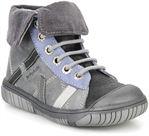 Cuir gris-bleu + velours gris