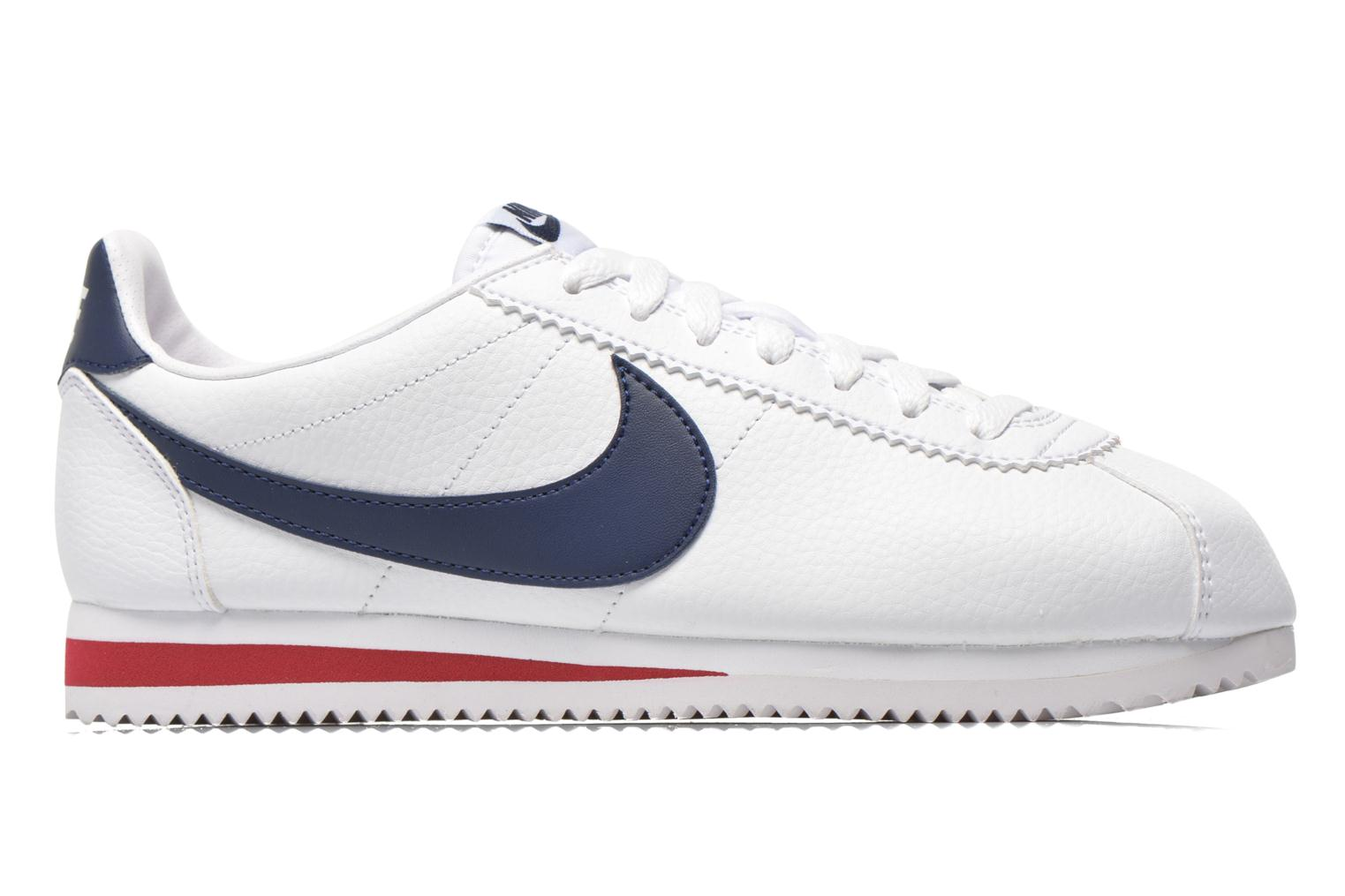 Classic Cortez Leather White/Midnight Navy-Gym Red