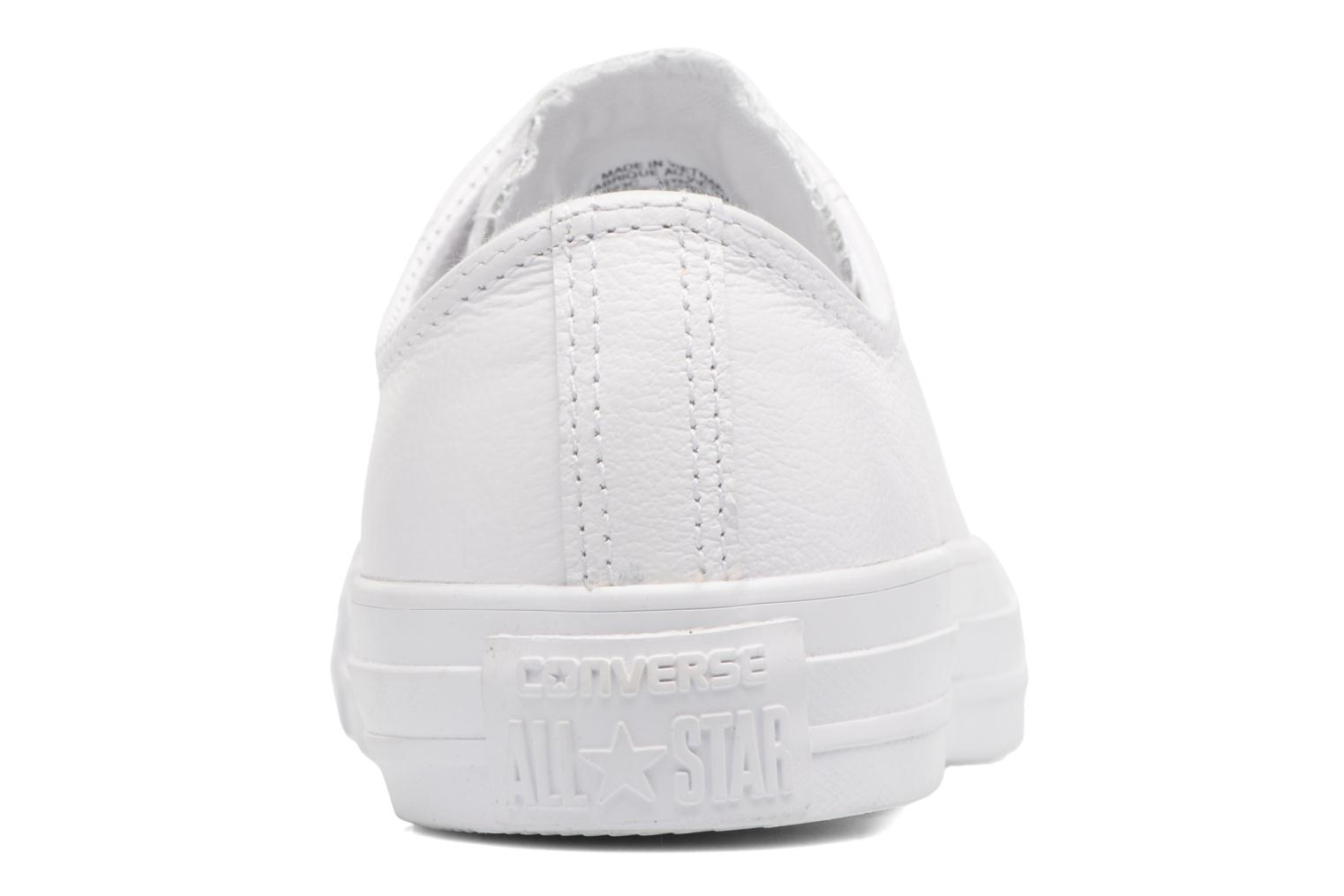 Deportivas Converse Chuck Taylor All Star Monochrome Leather Ox W Blanco vista lateral derecha