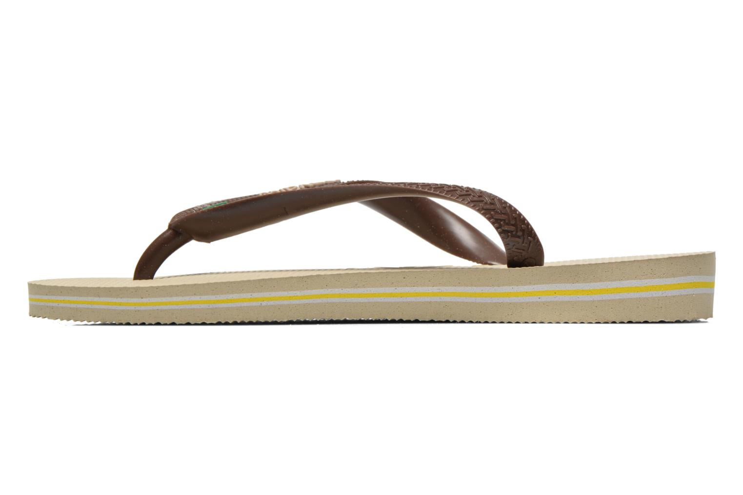 Tongs Havaianas Brasil Logo F Marron vue face