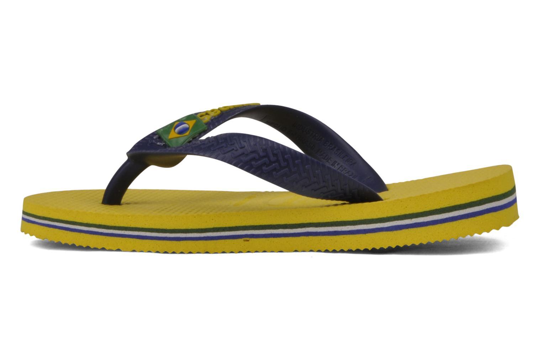 Zehensandalen Havaianas Brasil Logo E gelb ansicht von vorne