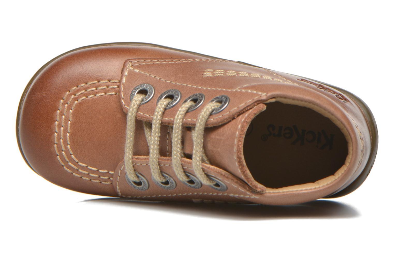 Zapatos con cordones Kickers Billy Marrón vista lateral izquierda