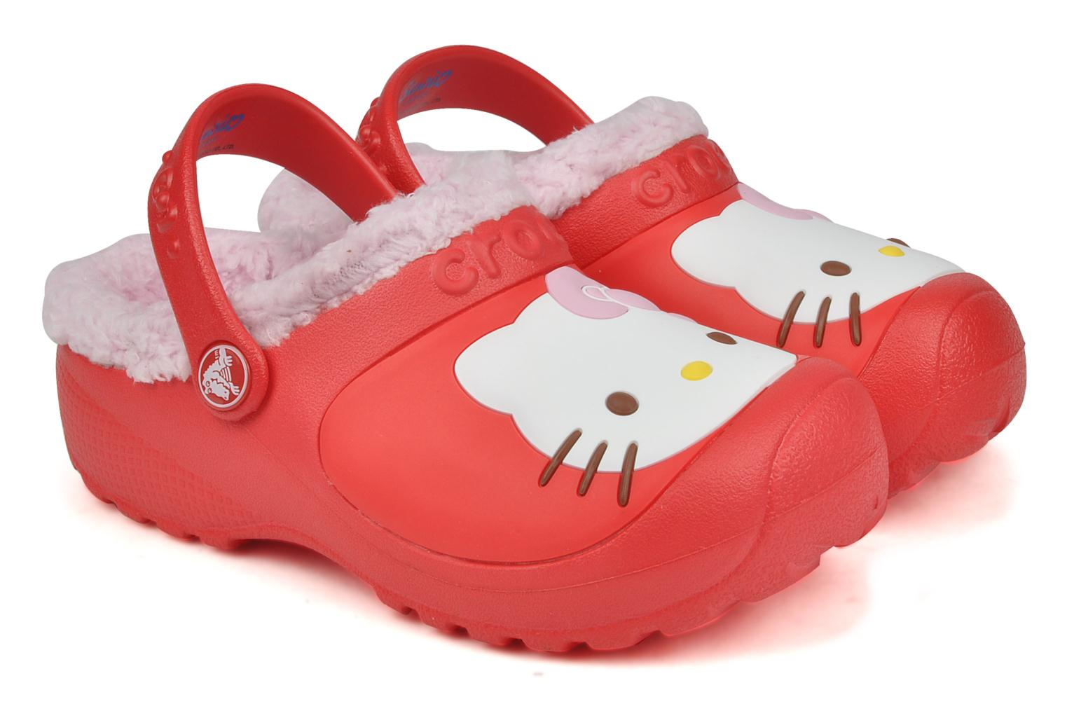 Sandals Crocs Hello kitty lined custom clog Red 3/4 view