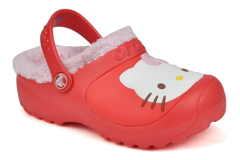 Hello kitty lined custom clog Red bubblegum