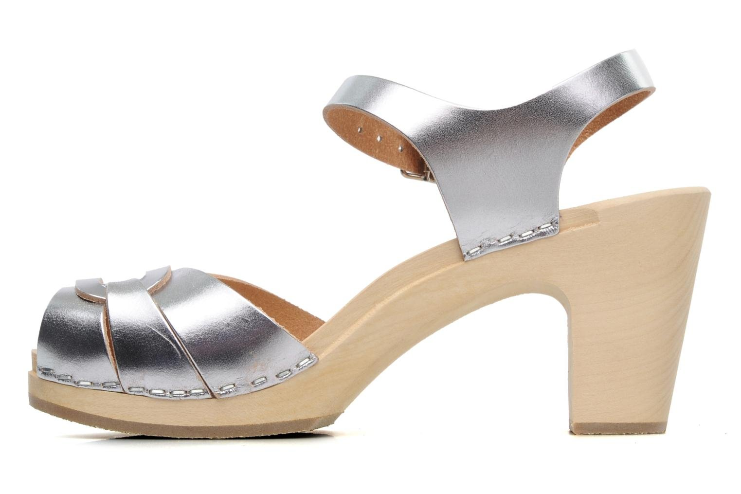 Sandalen Swedish Hasbeens Peep toe super high Zilver voorkant