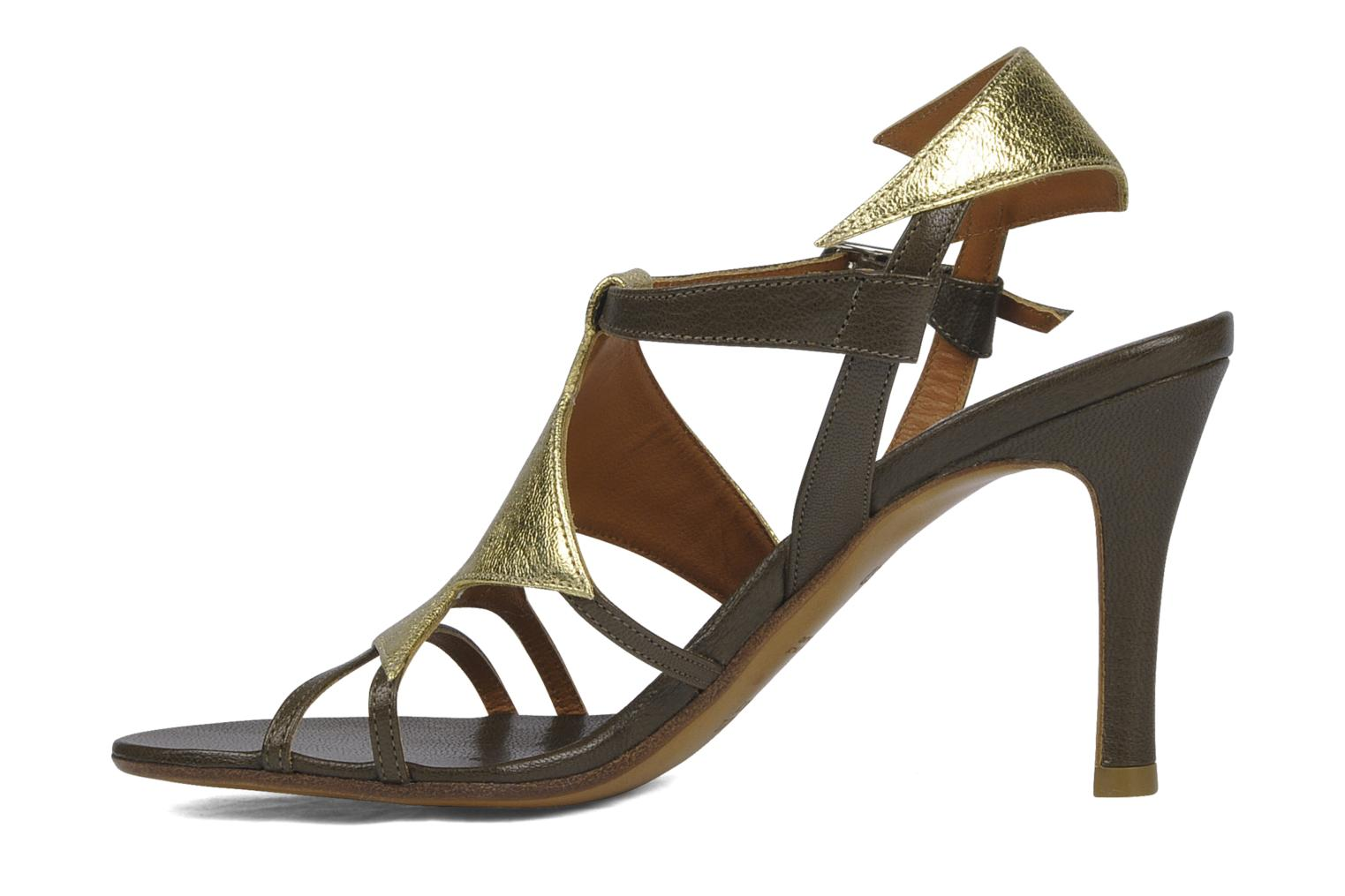 Sandals Michel Perry Themis Bronze and Gold front view