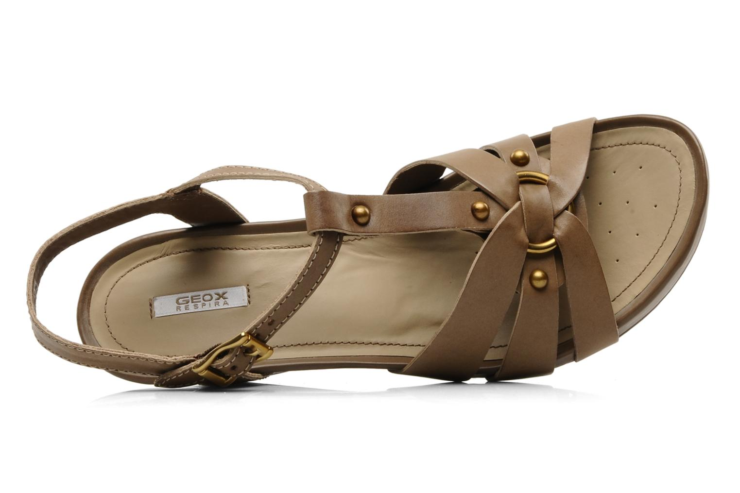 Sandals Geox D roxy z Brown view from the left