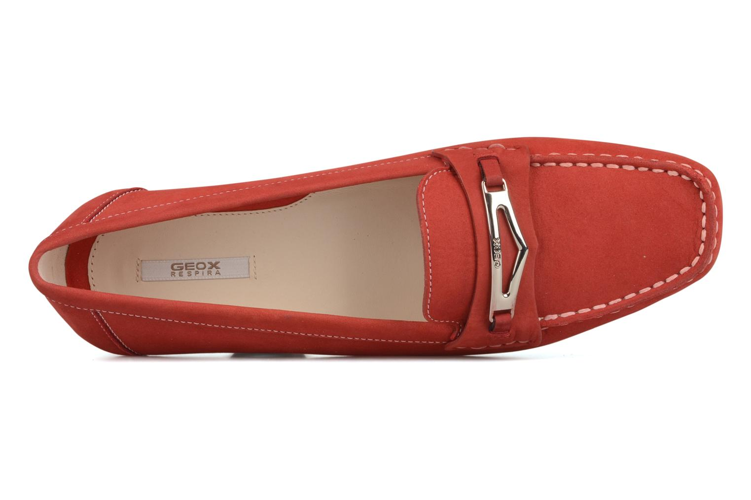 Loafers Geox D grin a Red view from the left