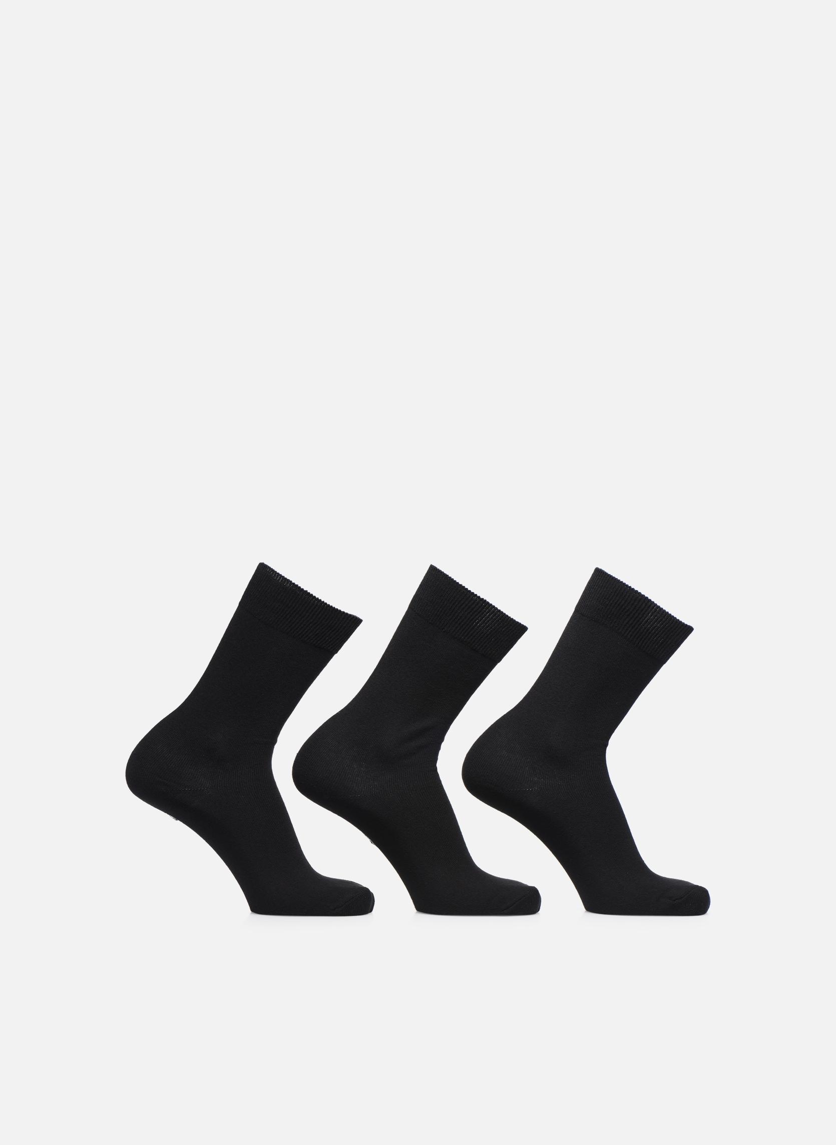 Chaussettes Homme pack de 3 Fil d'ecosse unies Noir