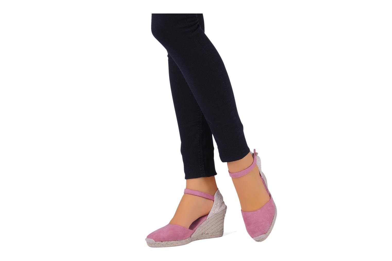 Espadrilles Eden Wedge rosa ansicht von unten / tasche getragen
