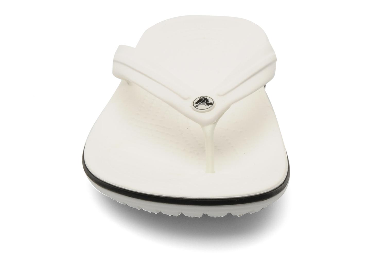 Zehensandalen Crocs Crocband Flip W weiß schuhe getragen