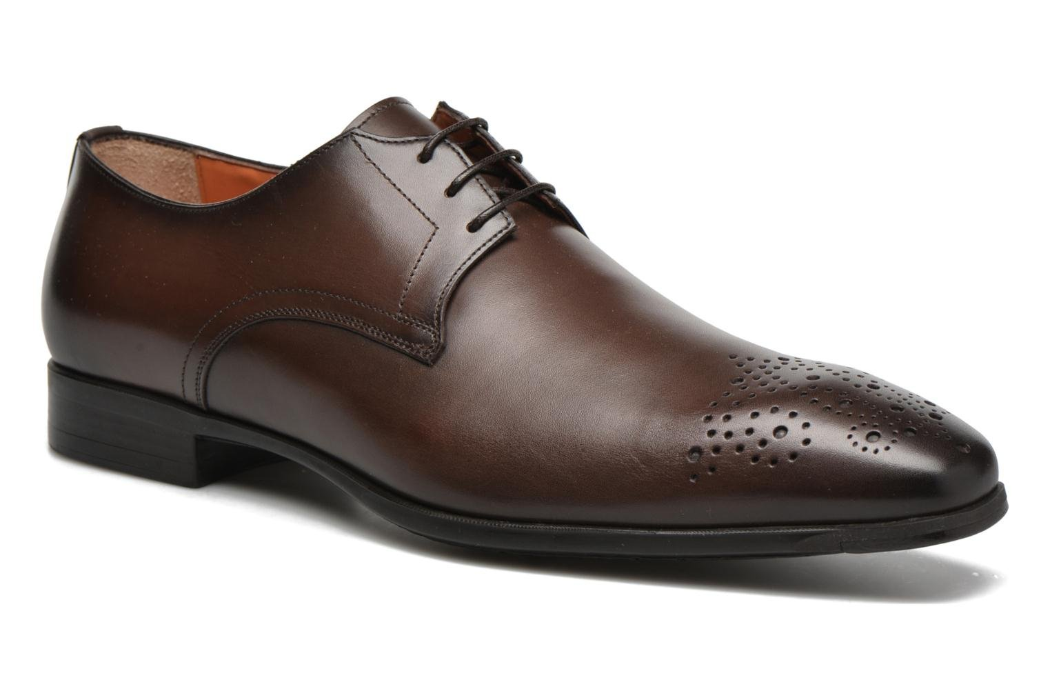 Lace-up shoes Santoni Marlone 11020 Brown detailed view/ Pair view