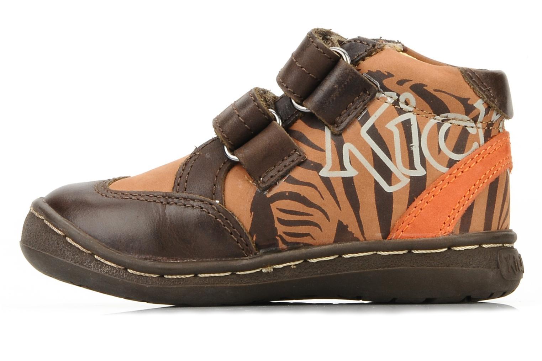 Zapatos con velcro Kickers Maellig Marrón vista de frente