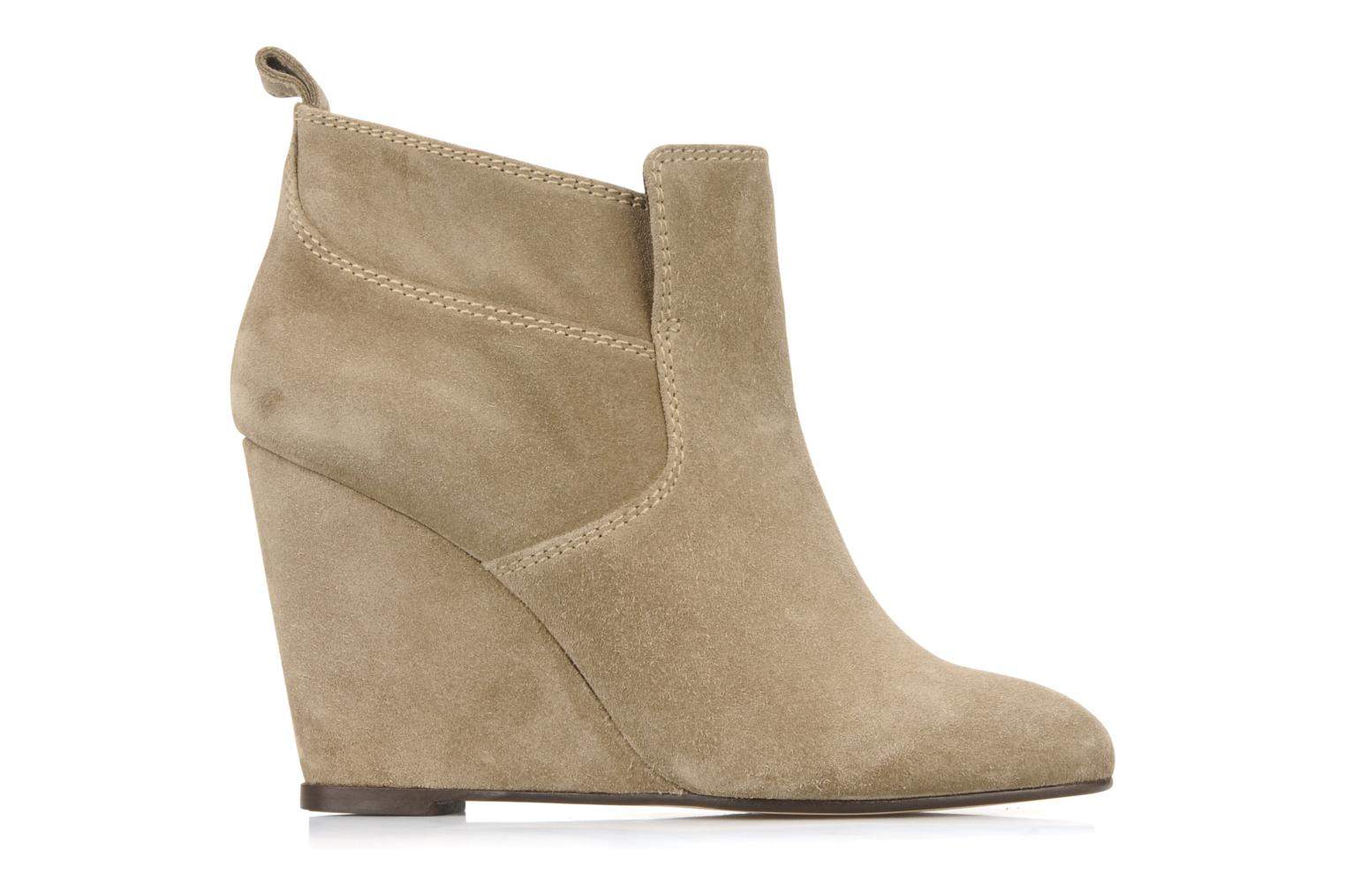 Ankle boots Tila March Wedge booty stitch suede Beige back view