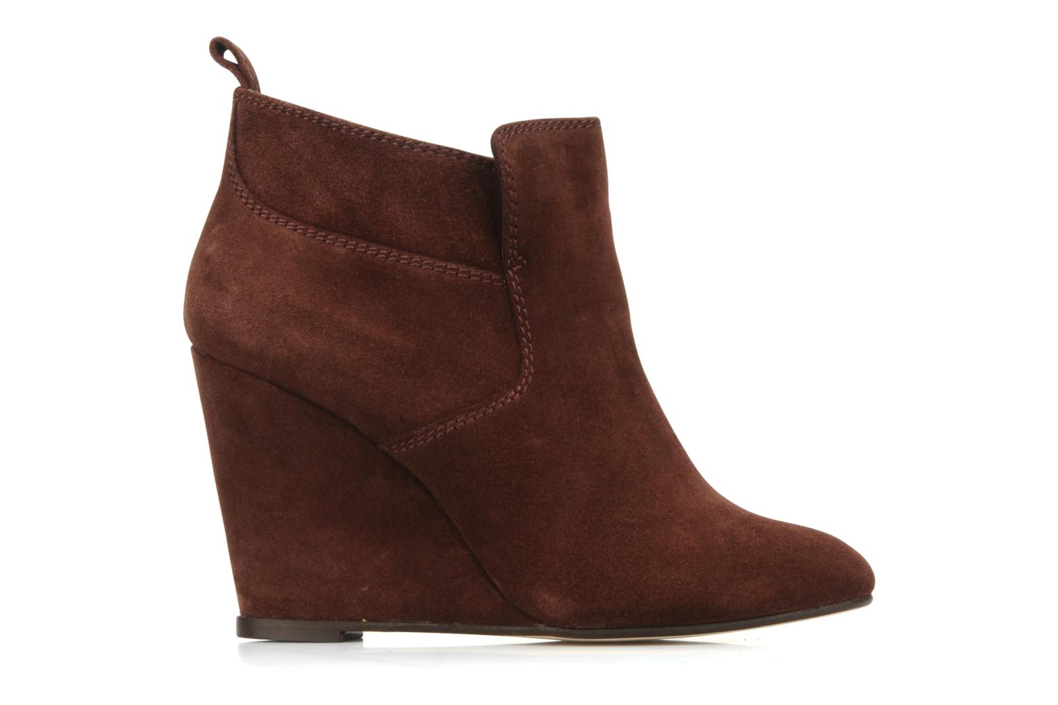 Ankle boots Tila March Wedge booty stitch suede Burgundy back view