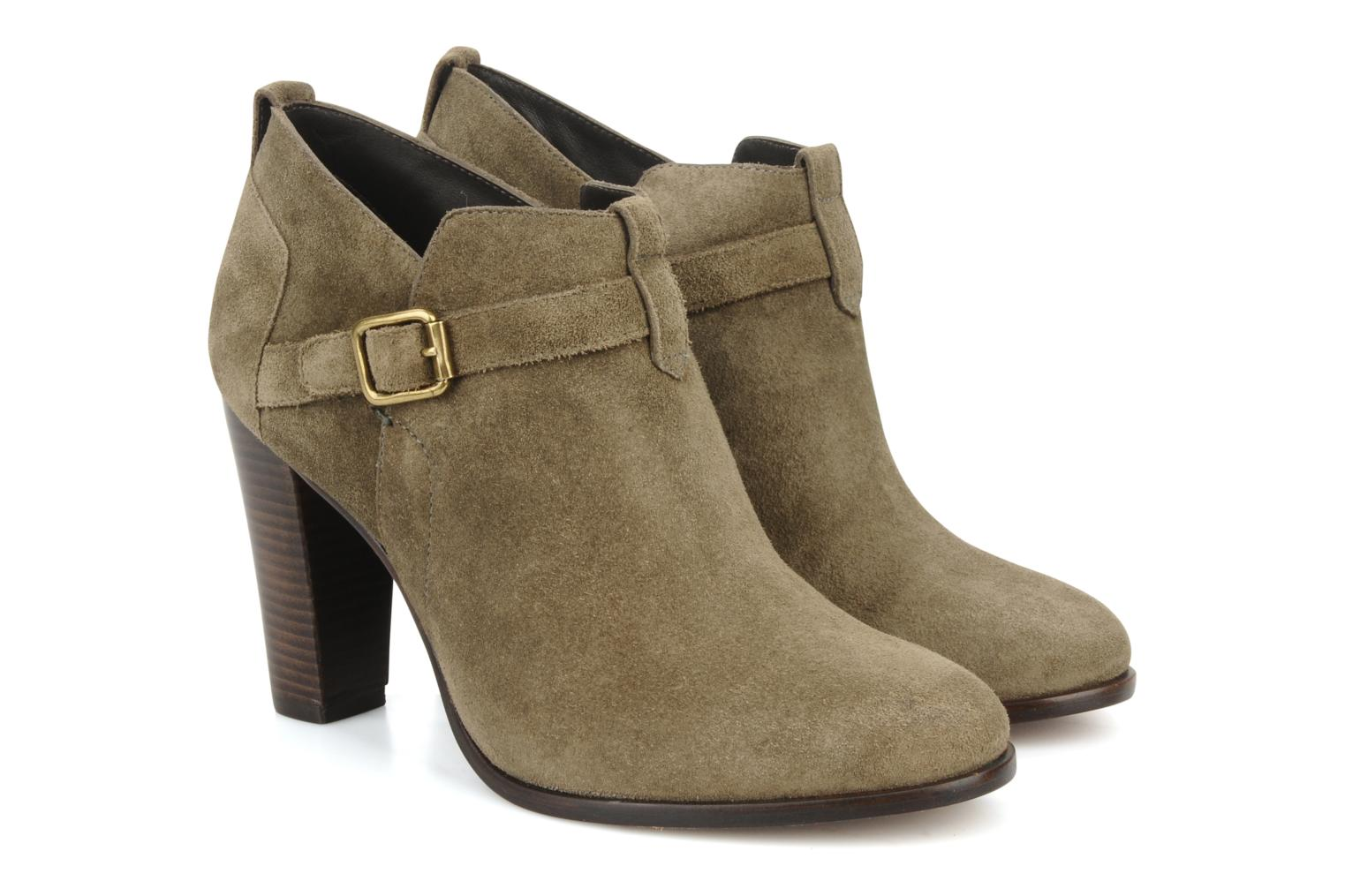 Ankle boots Tila March Booty strap suede Green 3/4 view
