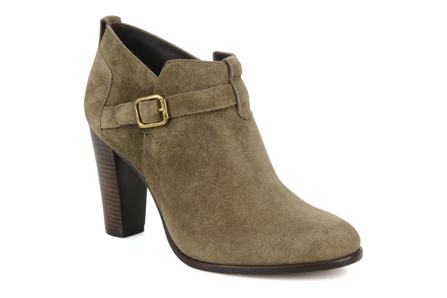 Ankle boots Tila March Booty strap suede Green detailed view/ Pair view