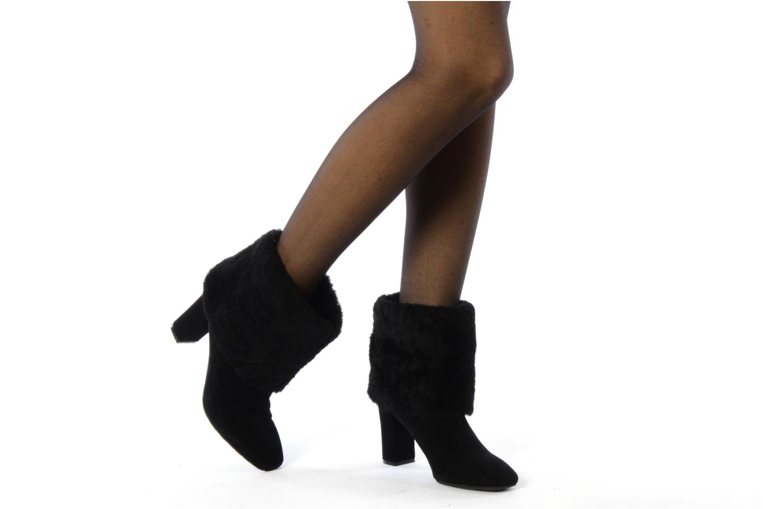 Helena cuffed bootie Black suede and shearling