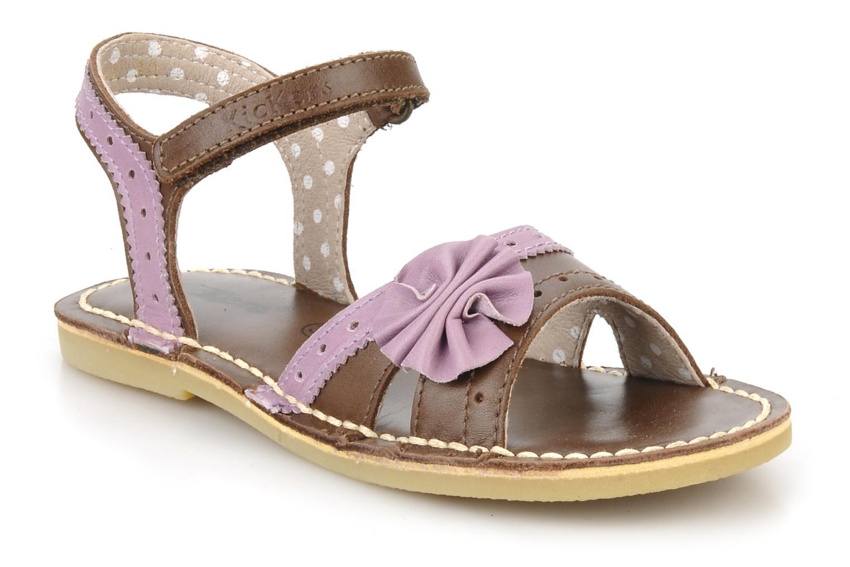 Sandales et nu-pieds Kickers Corine Marron vue détail/paire