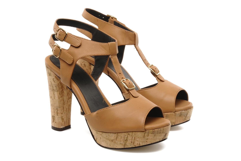 Sandalias Tila March Plateform sandal t-bar Marrón vista 3/4