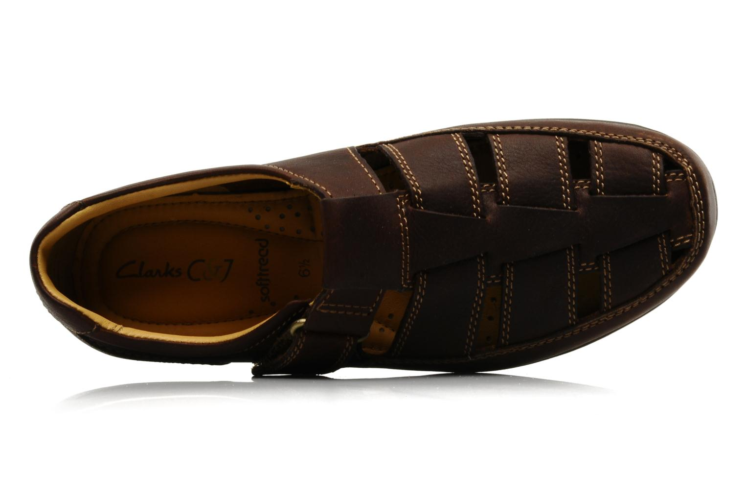 Sandals Clarks Recline Open Brown view from the left