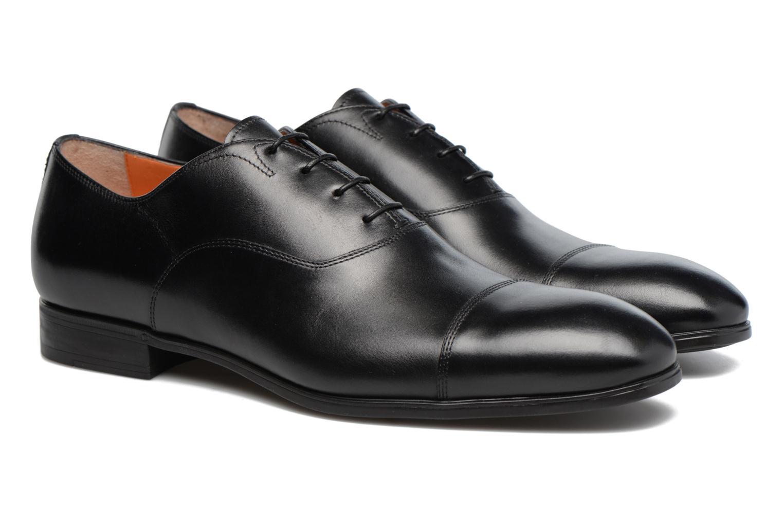 Lace-up shoes Santoni Simon 11011 Black 3/4 view