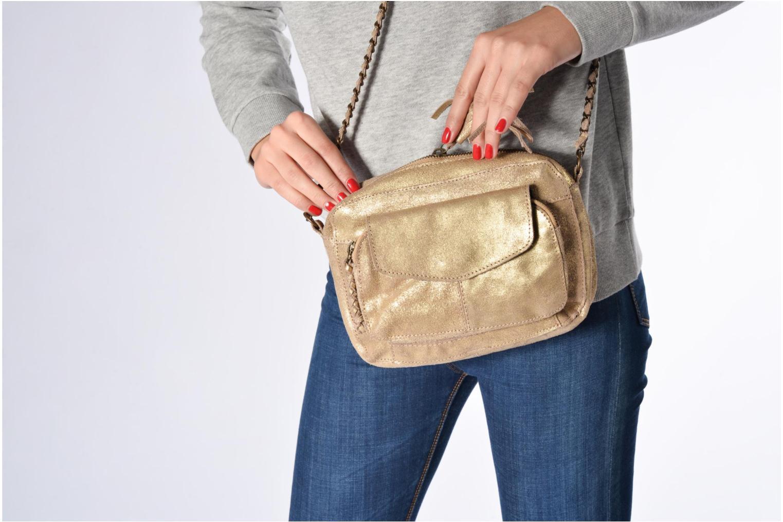 Bolsos de mano Pieces Naina Leather Crossover Oro y bronce vista de arriba