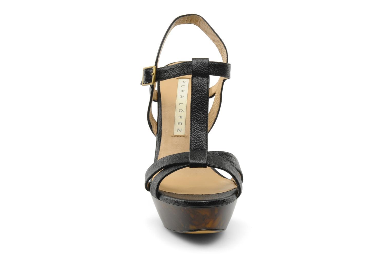 Sandales et nu-pieds Pura Lopez Storia Noir vue portées chaussures
