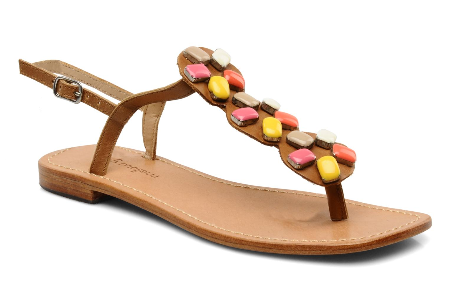 Sandals Mellow Yellow Lapi Brown detailed view/ Pair view