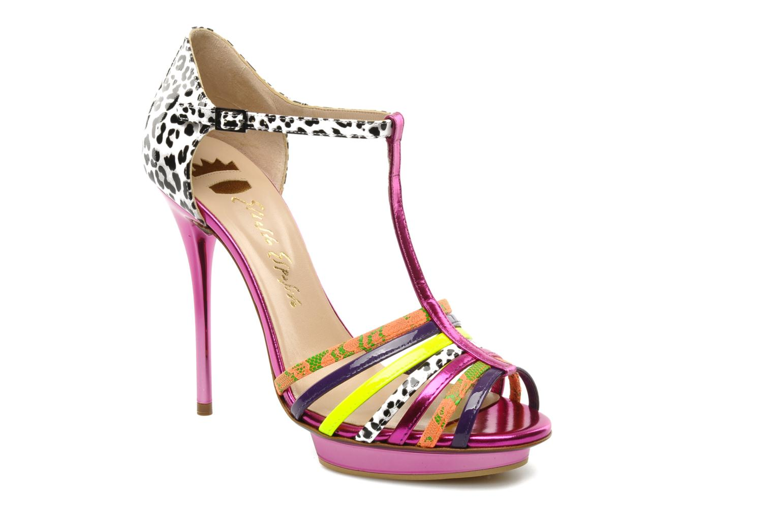 Marques Chaussure luxe femme Ernesto Esposito femme Edme Moire Viola/ Pizzo Fluo 03/ Lam Fuxia / Ghana 100/742/ Vern Gial