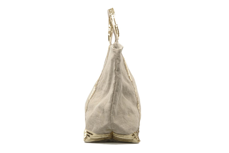 Handtaschen Vanessa Bruno Cabas Lin paillettes XL beige ansicht von rechts