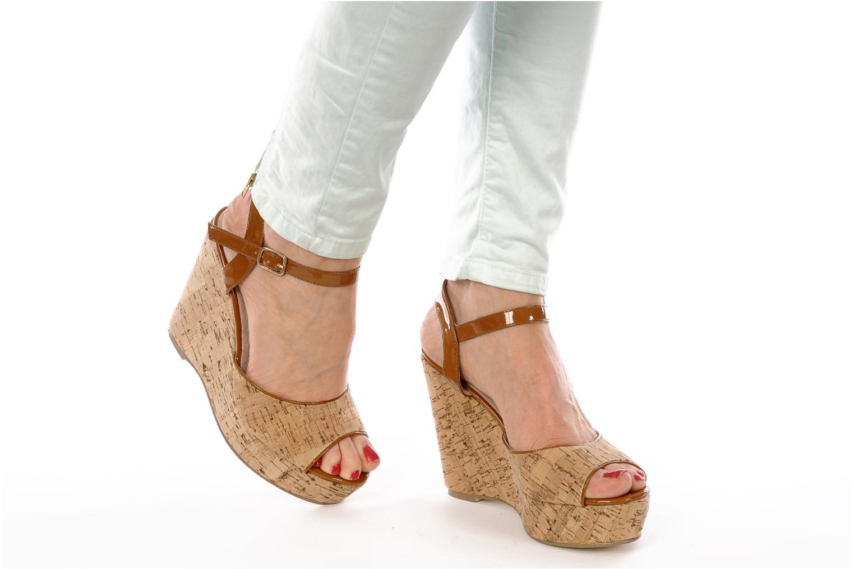 Sandales et nu-pieds Georgia Rose Flica Marron vue bas / vue portée sac