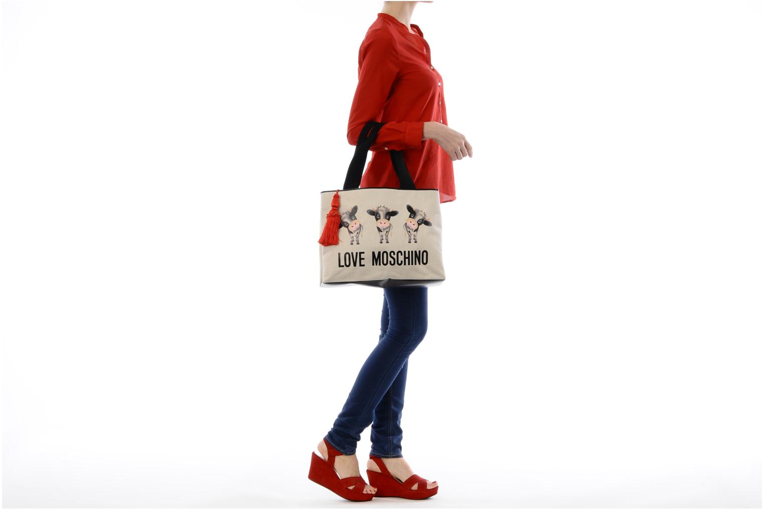 Handbags Love Moschino MOOOU BAG CABAS Beige view from above
