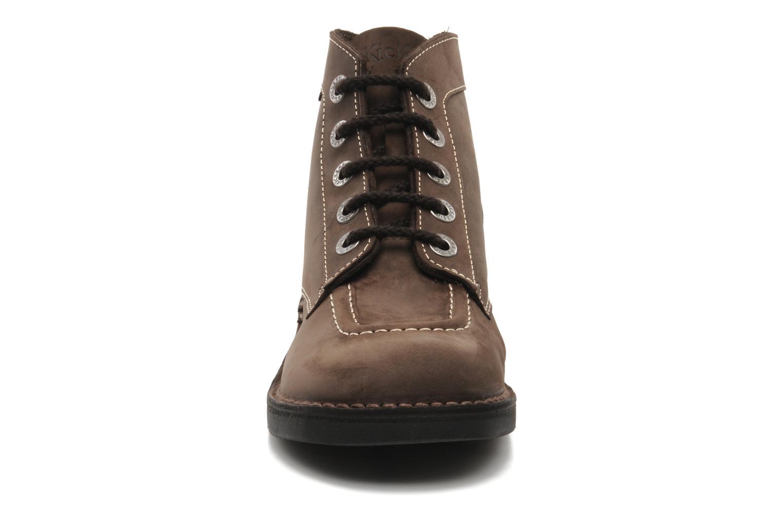 Chaussures à lacets Kickers Kick Col Perm Marron vue portées chaussures