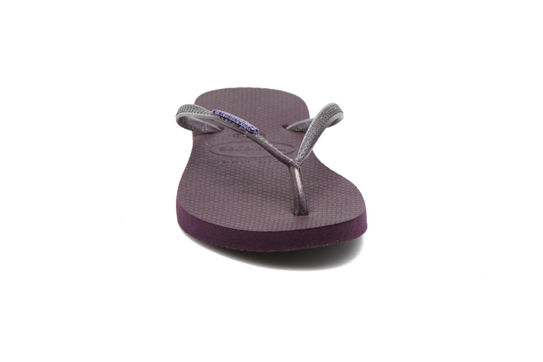 Flip flops & klipklapper Havaianas Slim Logo Metallic Lilla se skoene på
